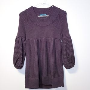 ALICE + OLIVIA Bell Sleeve Brown Wool Knit Sweater
